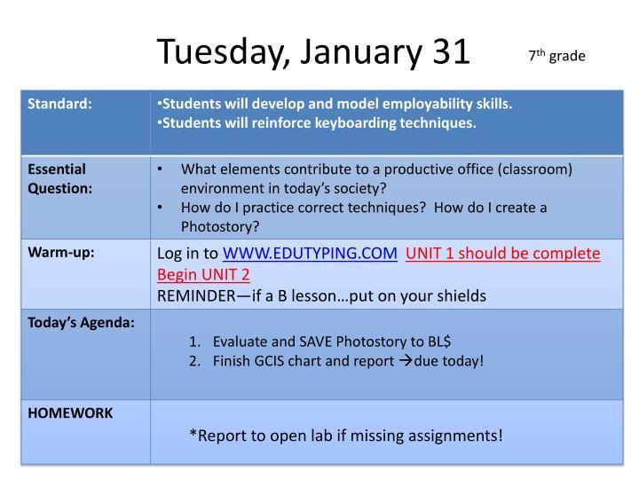 Tuesday, January 31