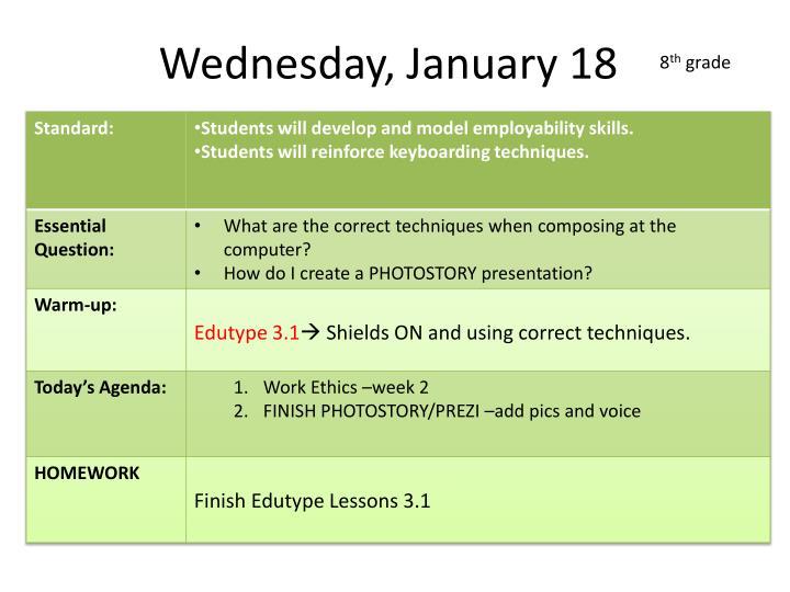 Wednesday, January 18
