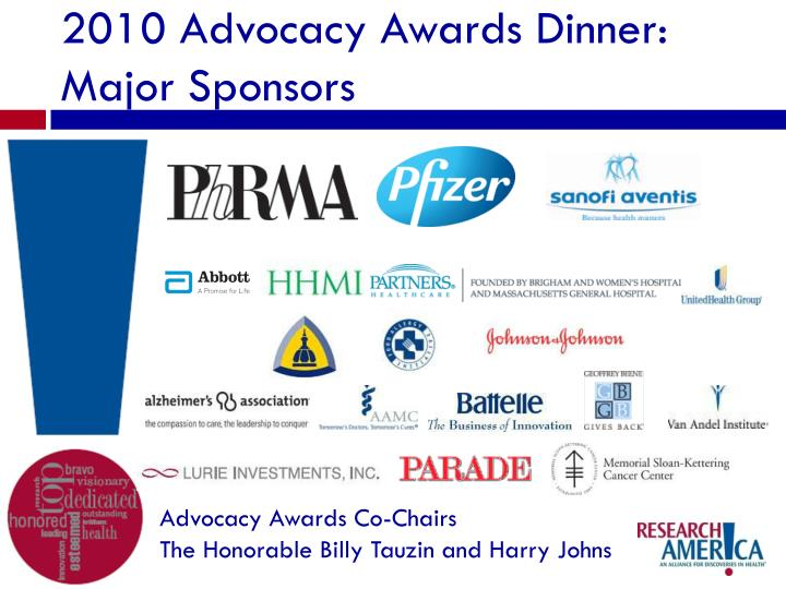 2010 Advocacy Awards Dinner: Major Sponsors