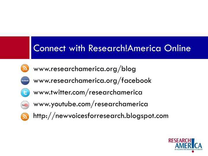 Connect with Research!America Online