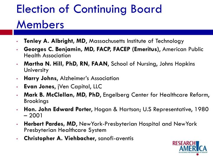 Election of Continuing Board Members