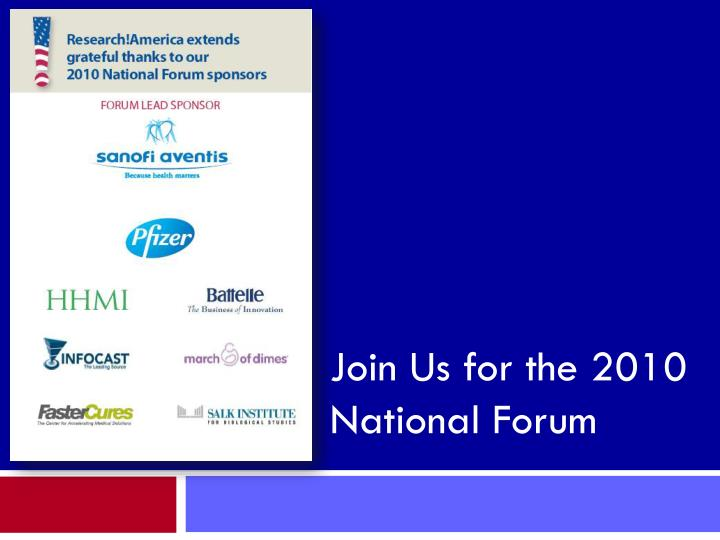 Join Us for the 2010 National Forum