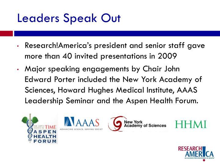 Leaders Speak Out