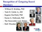 recognition of outgoing board members