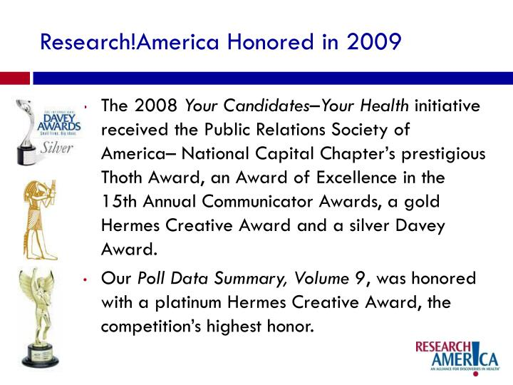 Research!America Honored in 2009