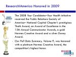 research america honored in 2009