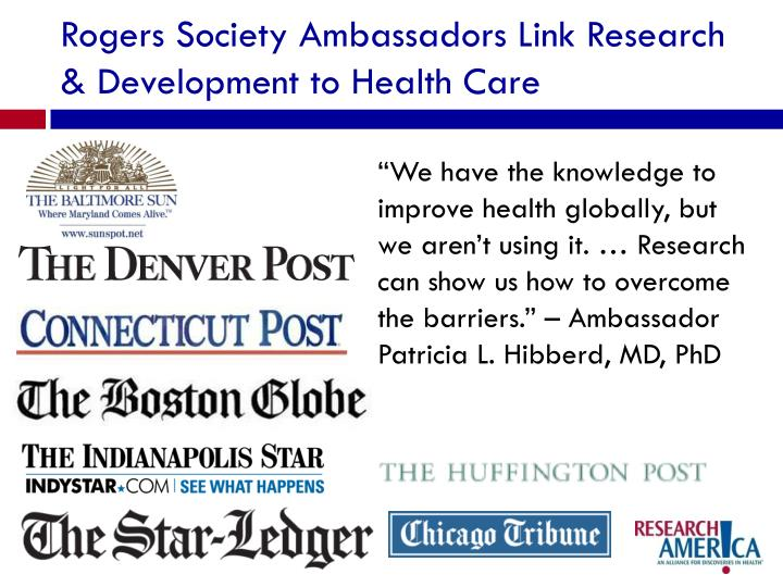 Rogers Society Ambassadors Link Research & Development to Health Care