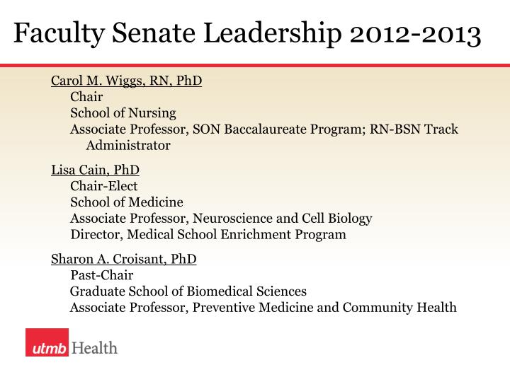 Faculty Senate Leadership 2012-2013