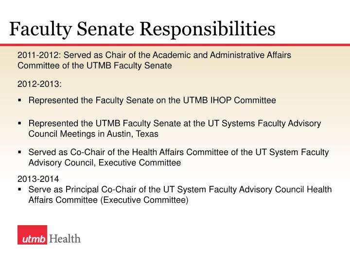 Faculty Senate Responsibilities