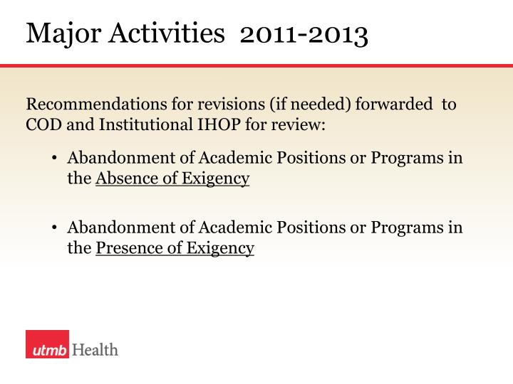 Major Activities  2011-2013