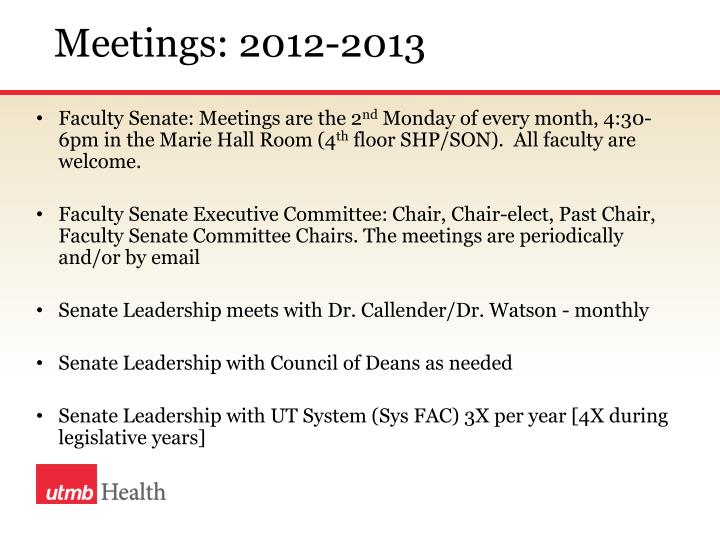 Meetings: 2012-2013