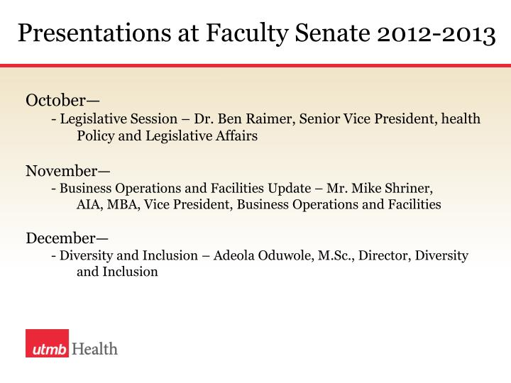 Presentations at Faculty Senate 2012-2013