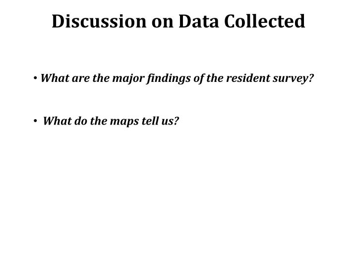 Discussion on Data Collected