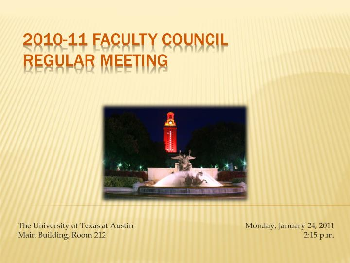 2010 11 faculty council regular meeting