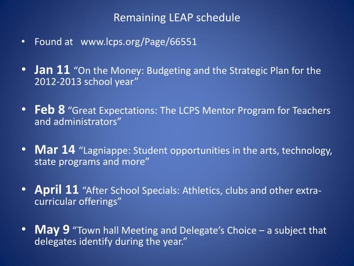 Remaining LEAP schedule