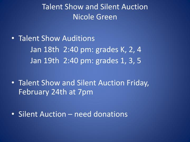 Talent Show and Silent Auction