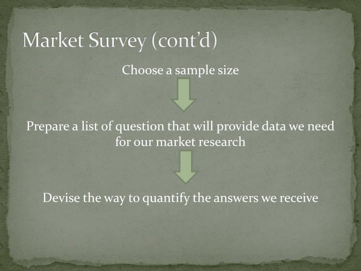Market Survey (cont'd)