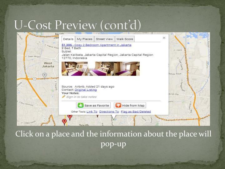 U-Cost Preview (cont'd)