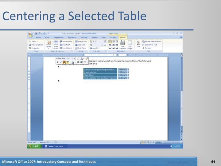 Centering a Selected Table