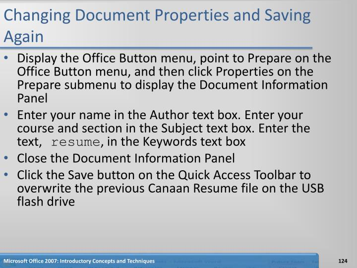 Changing Document Properties and Saving Again