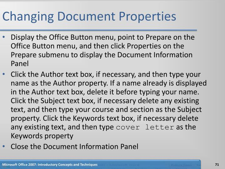 Changing Document Properties