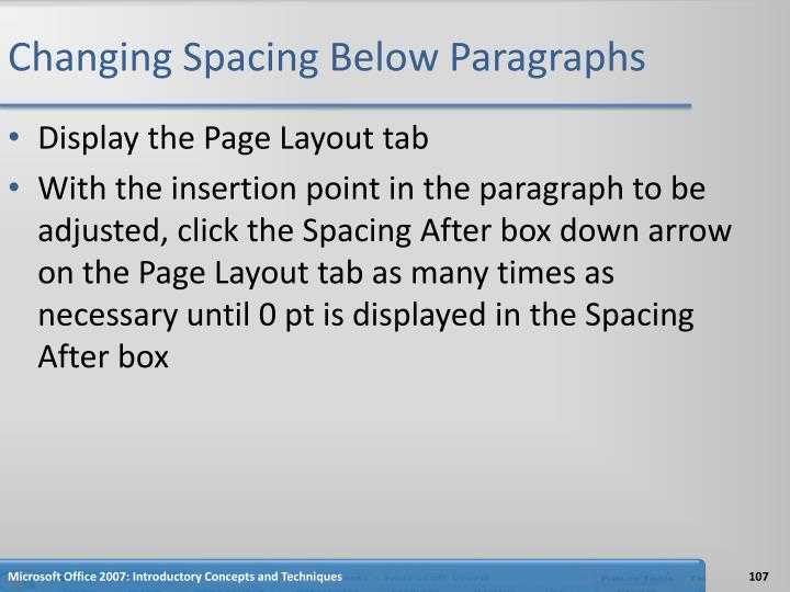 Changing Spacing Below Paragraphs