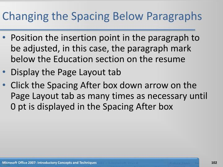 Changing the Spacing Below Paragraphs