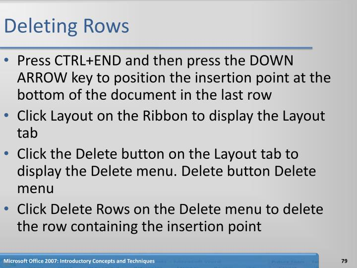Deleting Rows