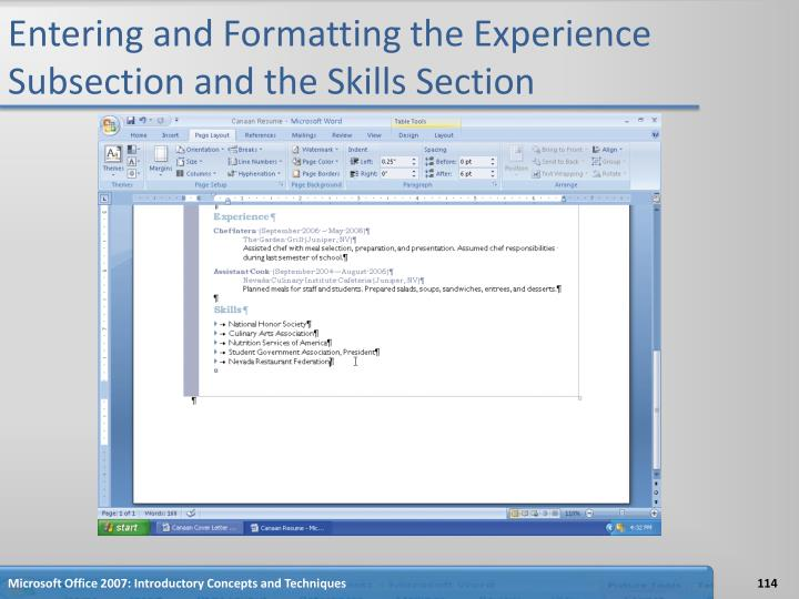Entering and Formatting the Experience Subsection and the Skills Section