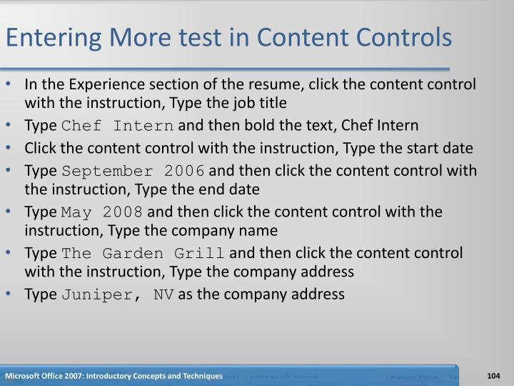 Entering More test in Content Controls