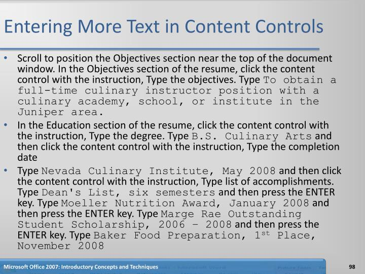 Entering More Text in Content Controls