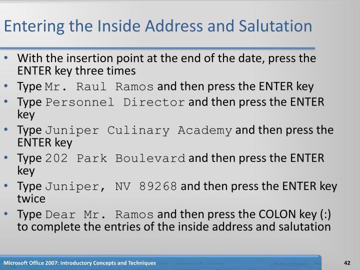 Entering the Inside Address and Salutation
