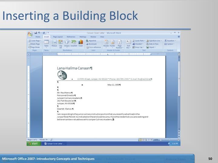 Inserting a Building Block