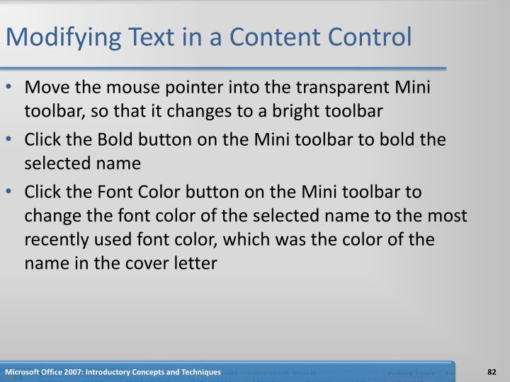 Modifying Text in a Content Control