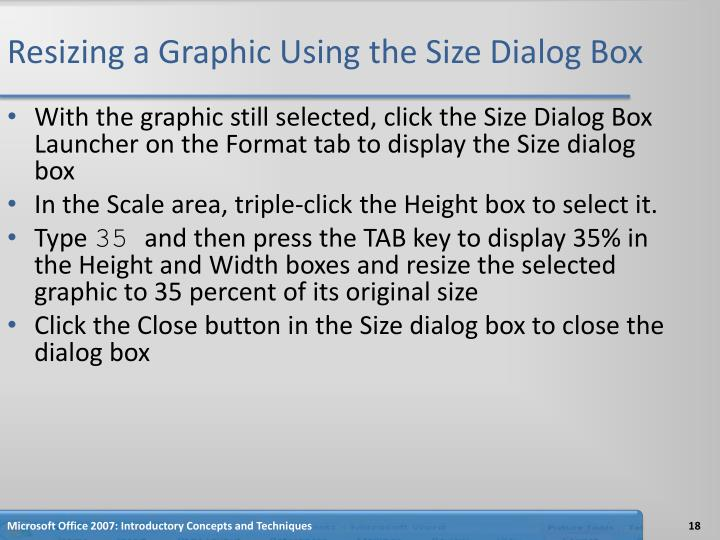 Resizing a Graphic Using the Size Dialog Box