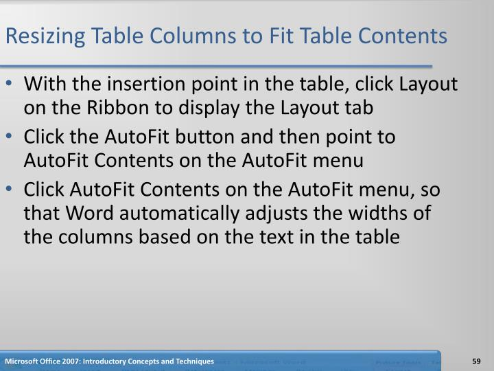 Resizing Table Columns to Fit Table Contents