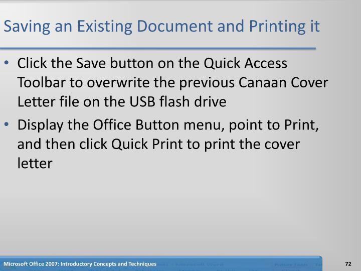 Saving an Existing Document and Printing it