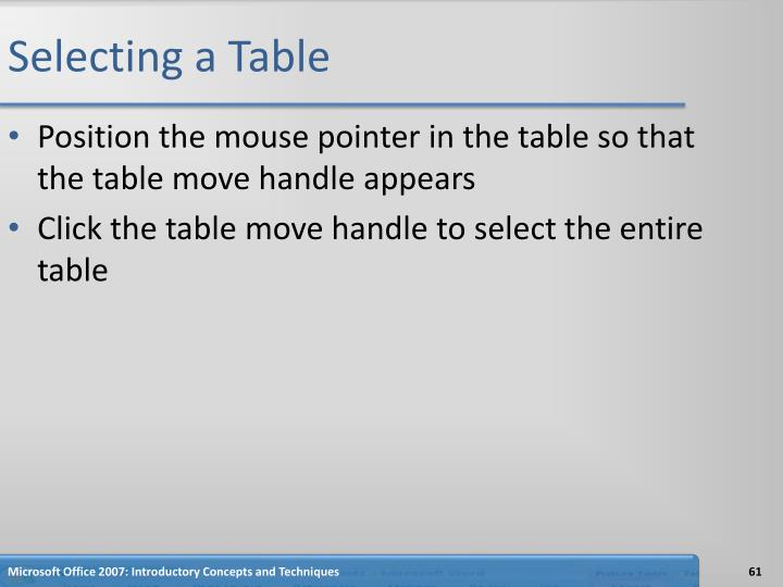 Selecting a Table
