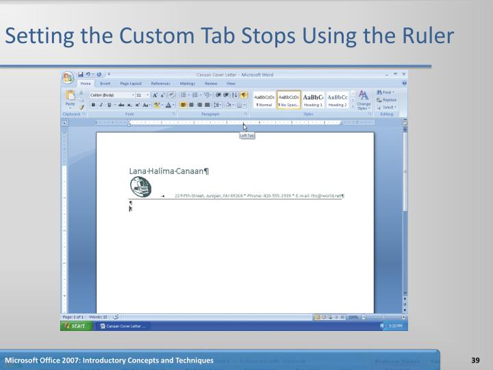 Setting the Custom Tab Stops Using the Ruler