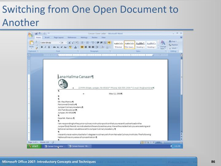 Switching from One Open Document to Another