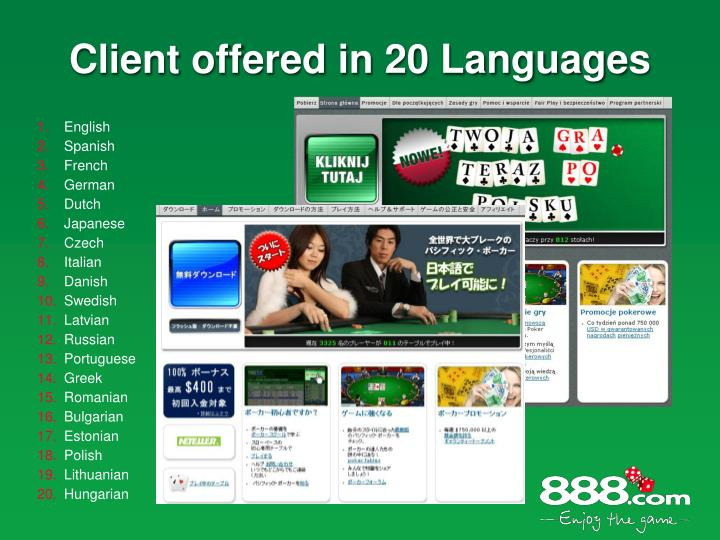 Client offered in 20 Languages