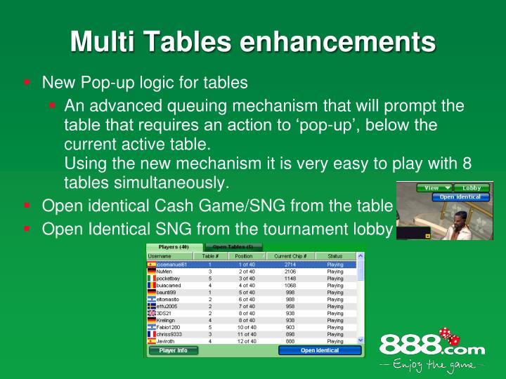 Multi Tables enhancements