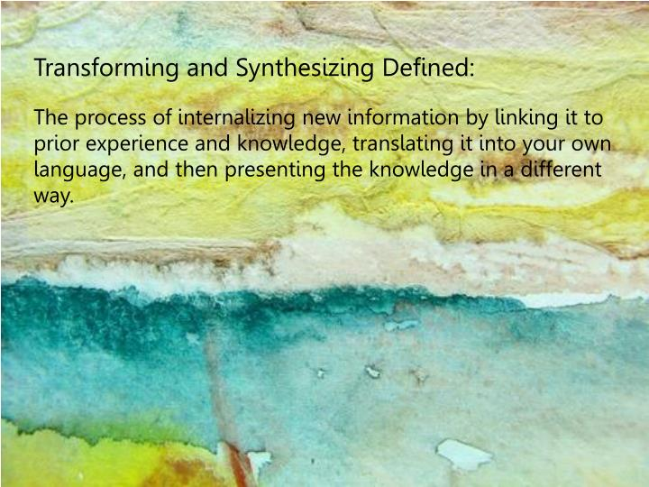 Transforming and Synthesizing Defined: