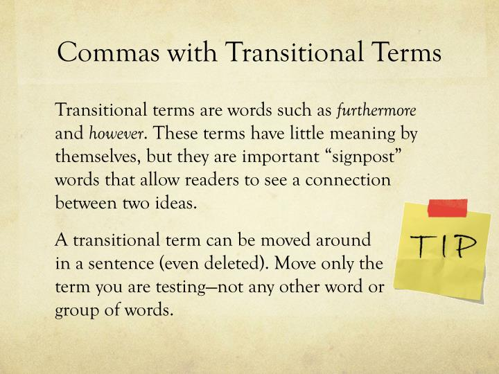 Commas with Transitional Terms