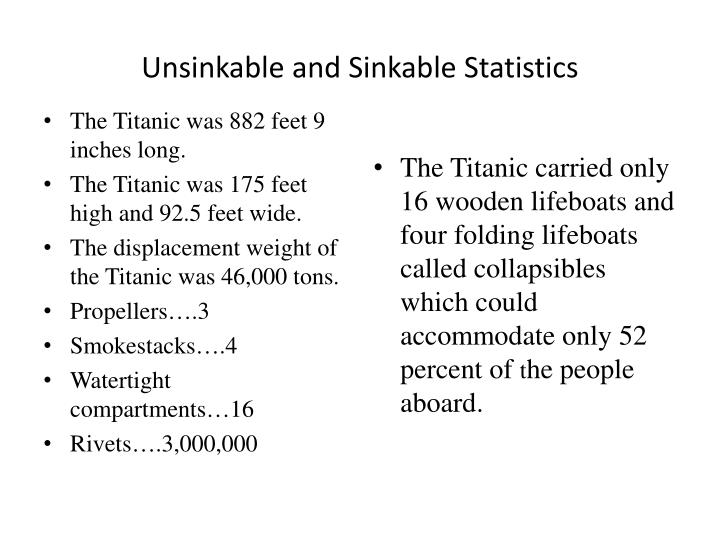 Unsinkable and Sinkable Statistics