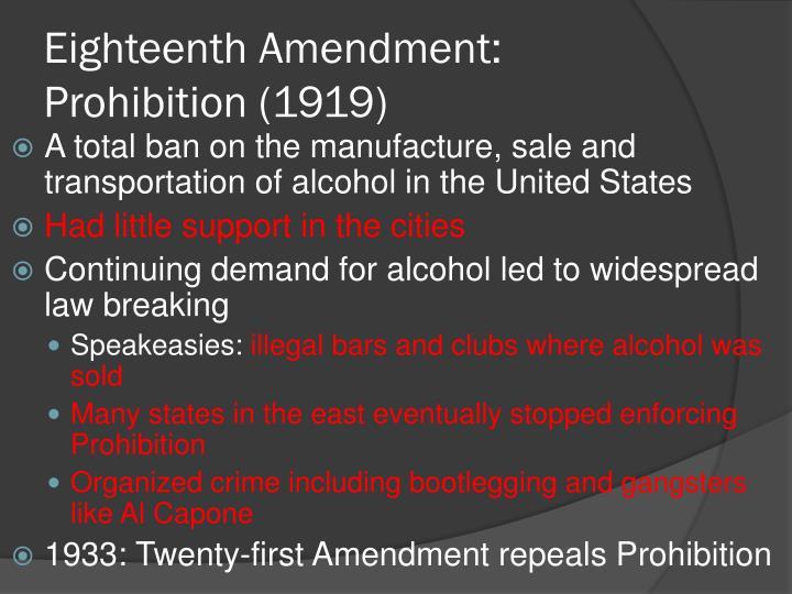 Eighteenth Amendment: Prohibition (1919)