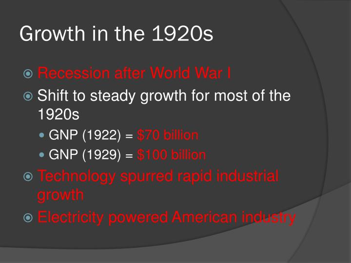 Growth in the 1920s
