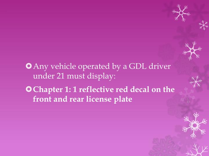 Any vehicle operated by a GDL driver under 21 must display: