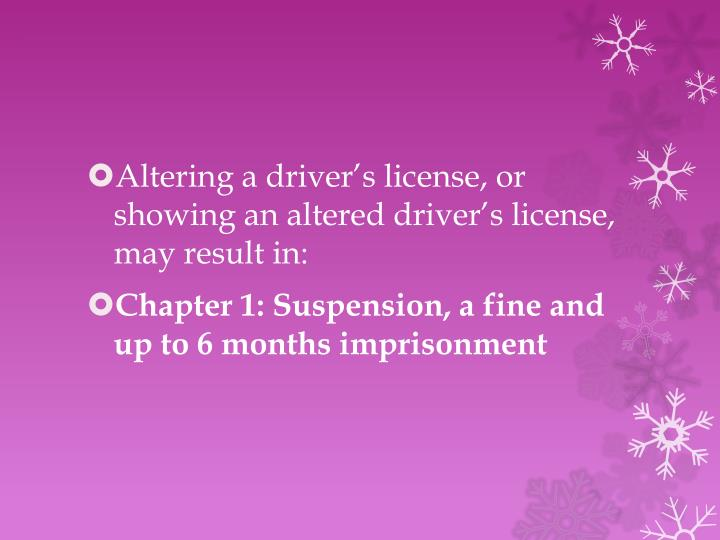 Altering a driver's license, or showing an altered driver's license, may result in:
