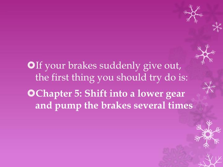 If your brakes suddenly give out, the first thing you should try do is: